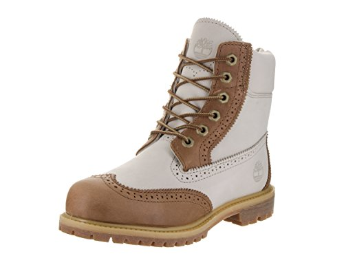 Timberland Women's 6 Inch Premium Brogue Tan/Off White Boot 8.5 Women US