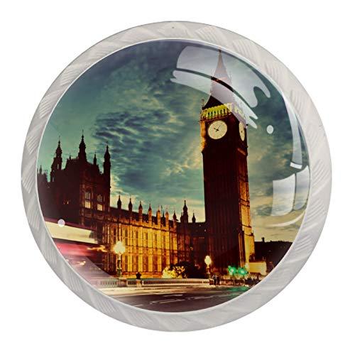 Pomos de Blanco Cristal Reloj Big Ben de Londres RedondoTiradores de Muebles 4 Piezas 35mm Hecho a Mano Pomos para Alacena Baño Cocina Gabinetes Pomos Para Armarios Infantiles