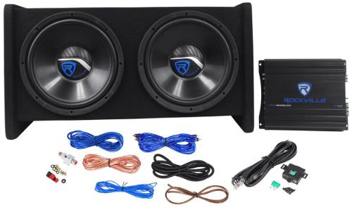 "Rockville RV12.2A 1200w Dual 12"" Car Subwoofer Enclosure+Mono Amplifier+Amp Kit"