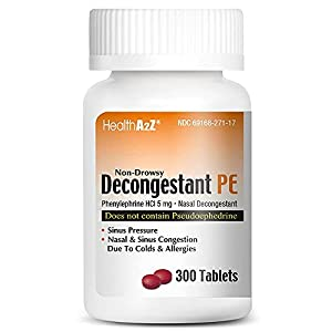 HealthA2Z Decongestant PE | Phenylephrine 5mg (300ct) | Non-Drowsy | Relives Sinus Pressure & Congestion from Illness or Allergies
