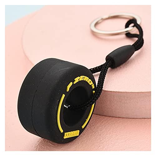 WSXC Bolso de Anillos de Llave de Coche F1 Mini Lindo Neumático Neumático Suave Neumático Llavero Silicona Zipper Decoración Decoración Charms Mejores Regalos (Color : Yellow, Size : 3pcs)