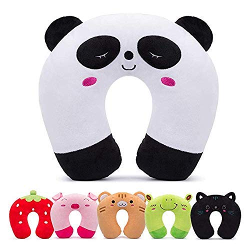 H HOMEWINS Travel Pillow for Kids Toddlers - Soft Neck Head Chin Support Pillow,Cute Animal,Comfortable in Any Sitting Position for Airplane,Car,Train,Machine Washable,Children Gift