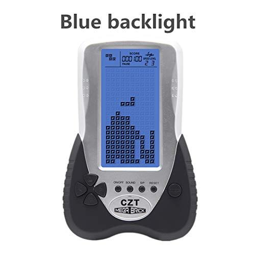 CZT Neue große Bildschirm Tetris Spielkonsole Blaue Hintergrundbeleuchtung Unterstützung Stecker Kopfhörer eingebaute 23 Spiele Freizeit Puzzle Kinder Geschenk Spielzeug (Black)