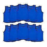 Ronex Sports Petos de Entrenamiento para niños, jóvenes y Adultos (Petos Deportivos, Petos de Futbol) - Pack de 10 Unidades Azul Marino, Niños (5-10 años)