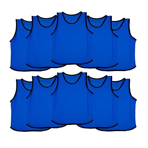 Ronex Sports Petos de Entrenamiento para niños, jóvenes y Adultos (Petos Deportivos, Petos de Futbol) - Pack de 10 Unidades (Azul Marino, Adulto)