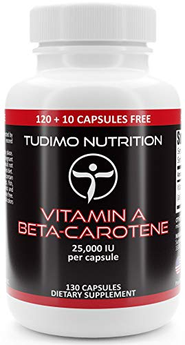 Beta Carotene (Vitamin A) 25000 IU - 130 pcs (4+ Month Supply) of Rapidly Disintegrating Capsules, Each with 15 mg of Premium Quality Beta-Carotene Powder, by TUDIMO