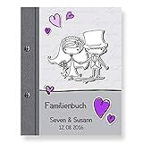 Stammbuch der Familie personalisiert 'Comical' lila A5 Familienbuch Familienstammbuch Stammbaum Stammbücher Holzbuch Hochzeit