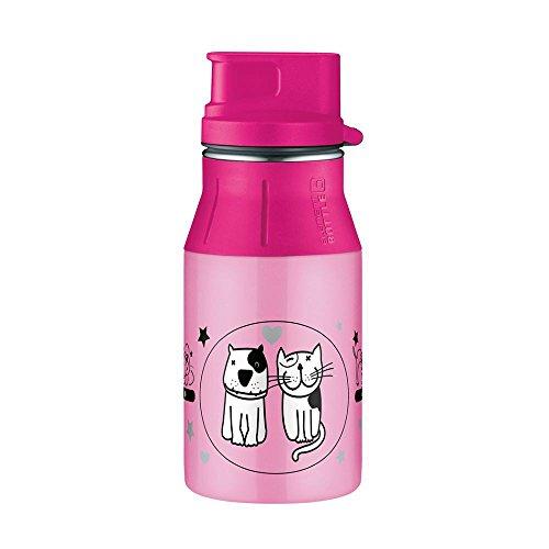 alfi 5377.100.040 Trinkflasche elementBottle II, Edelstahl Cats and Dogs Rosa 0,4 l, Spülmaschinenfest, BPA-Free