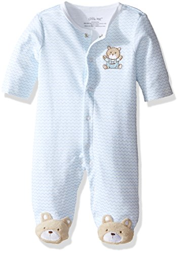 Little Me Baby-Boys Chevron Teddy Bear Footie, Light Blue, Newborn