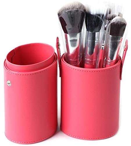 WOCTP Professionnel 12 Baril Brosses Multicolore Haut De Gamme PU Grand Cosmétique Couvercle De Seau Brosses Fibre Cheveux Seau Couvercle Brosses,Pink