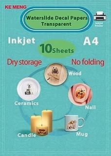 KE MENG A4 Inkjet Waterslide Decal Papers Image Transfer Paper for Inkjet Printer (Transparent, 10 Sheets)