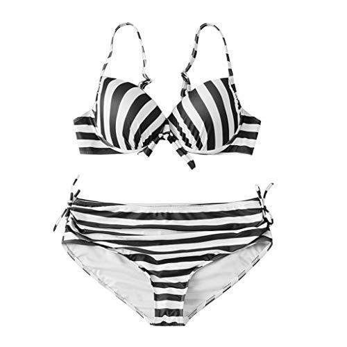 KEERADS Women's Bikini Set Two Piece Large Sizes Bikini Sexy Striped Swimsuit Beachwear S-3XL -  Black - X-Small