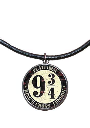 Stainless Steel Pendant, 30mm, Leather Cord, Handmade, Illustration Hogwarts Express