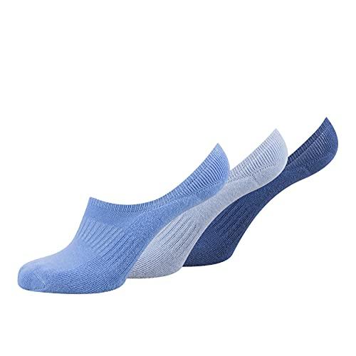 Fussvolk Inshoes Socks 3 Pack Box blue mix - Füßlinge Damen, blau hellblau dunkelblau, 35 – 38, Footies aus Frottee mit Silikon für angenehmes Tragen bei Anti-Rutsch