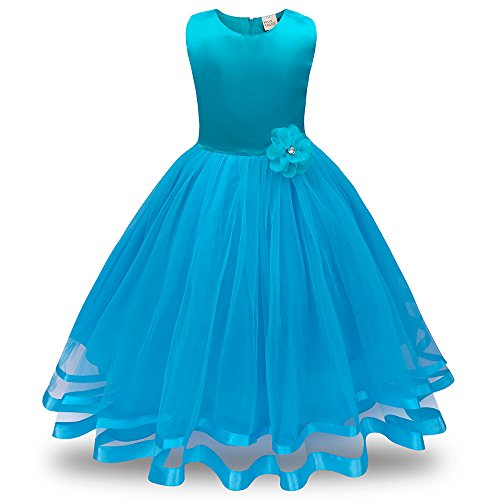 Honestyi BabyBekleidung Blumenmädchen Prinzessin Brautjungfer Pageant Tutu Tüll Kleid Party Hochzeitskleid (130,Hellblau)