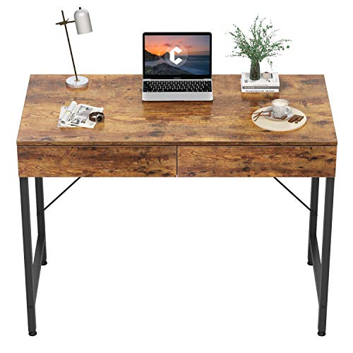 CubiCubi Computer Small Desk, 40 inches with 2 Storage Drawers for Home Office Writing Desk, Makeup Vanity Console Table, Rustic Brown