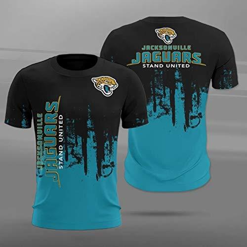 Xiaolimou NFL Jacksonville Jaguars Houston Texans Tennessee Titans Logo tee Crew Neck Camiseta para Hombre, Rugby Mangas Cortas, ultrafinas, cómodas y Transpirables,Jaguars,XXXXXXL