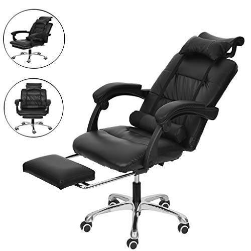 Adjustable Office Chair Recliner Ergonomic Leather Chair with Footrest Computer Gaming Chair, with Headrest and Lumbar Pillows 360 Degree Swivel (Black) chair gaming