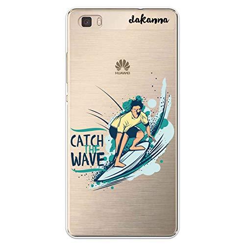 Dakanna Funda compatible con [Huawei P8 Lite] de Silicona Flexible, Dibujo Diseño [Chico con Tabla de Surf y Frase Catch Wave], Color [Fondo Transparente] Carcasa Case Cover de Gel TPU para smartphone