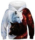 Ocean Plus Niños Sudaderas con Capucha Cool Pullover para Niños Niñas Adolescente Camiseta de Manga Larga (L (Altura: 145-150cm), Ángel y Diablo Doble Lobo)