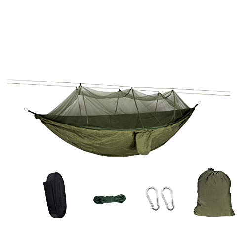 SZYT Portable Camping Hammock with Net and Storage Bag Nylon Lightweight for Adult Army Green