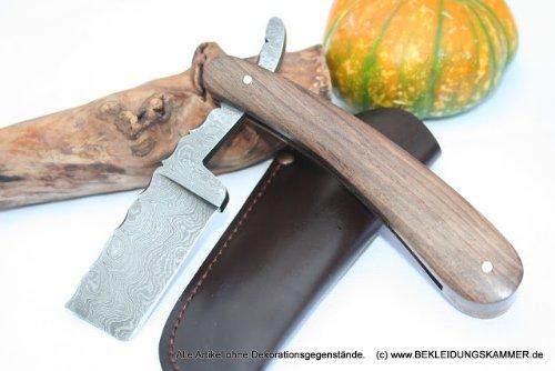Damastrasiermesser mit Walnussgriff untypische Form Rasiermesser