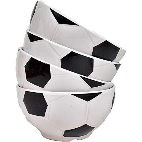 Tazón, Juego de 4 Tazones Grandes Tazones para el Desayuno Tazón de Fútbol Cereales-Estilo de Fútbol Diam.14,5 H.7,5 cm