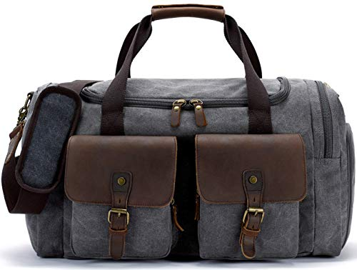 BLUBOON Canvas Duffel Bag Weekender Overnight Bag for Men and Women Oversized Travel Carry on Tote Bag with Shoe Compartment (Grey)