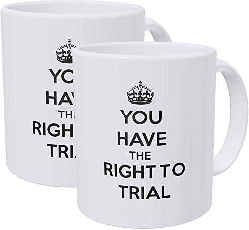 Willcallyou Pack of 2 You Have the Right to Trial Attorney Law Court Lawyer 11 Ounces Funny White Coffee Mug