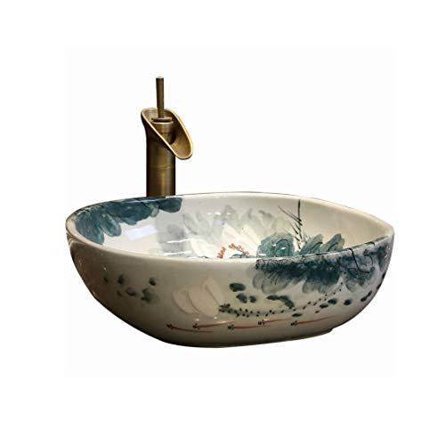 Bañera - Lavabo sobre encimera de arte vintage Baño Lavabo de cerámica Lavabo cuadrado chino Lavabo sobre encimera