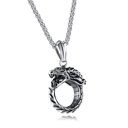 TEMICO Men's Vintage Stainless Steel Gothic Ouroboros Dragon Circle Pendant Necklace, Chain 23.6 Inches