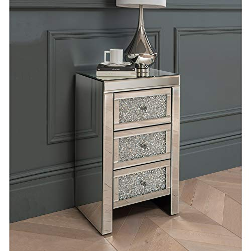 homesdirect365 Mirrored Bedside Table