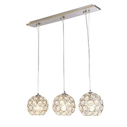 [lux.pro] Moderne Kugel Kristall Deckenleuchte (3 x E14 Sockel)(104,0 cm x 60,0 cm) Lüster Hängeleuchte 3-flammig Kronleuchter