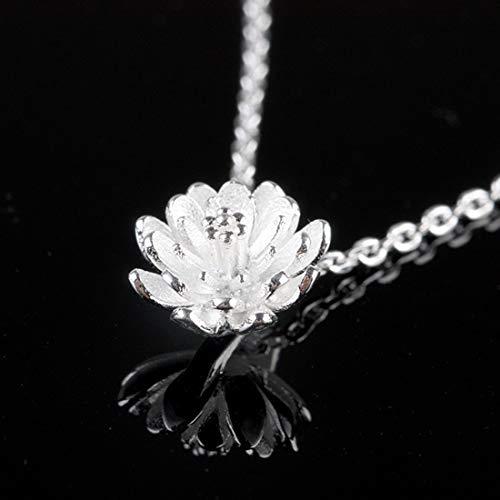 SUIWO Collar de Las Muchachas de la joyería Collar de Cadena Pendiente del Collar de Las Mujeres del Cuello de Cadena de Las Mujeres Collar Colgante de Las señoras de Lotus Mujer Pendiente de la Flor