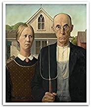ArtsyCanvas American Gothic - Grant Wood - Most Expensive Paintings - 24x20 Matte Poster Print Wall Art