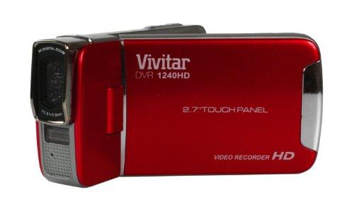 VIVITAR DVR1240HD Rojo 12MP Digital Video Recorder VIVITAR Full HD 1080P Pantalla táctil completa 12MP IMÁGENES FIJAS LI-ION super delgado DVR1240HD-INT barril