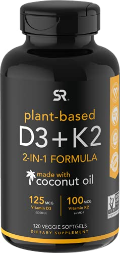 Vitamin K2 + D3 with Organic Virgin Coconut Oil   Vegan D3 (5000iu) with MK7 Vitamin K2 (100mcg) from Chickpea   Non-GMO & Vegan Certified (120 Veggie Softgels) by Sports Research