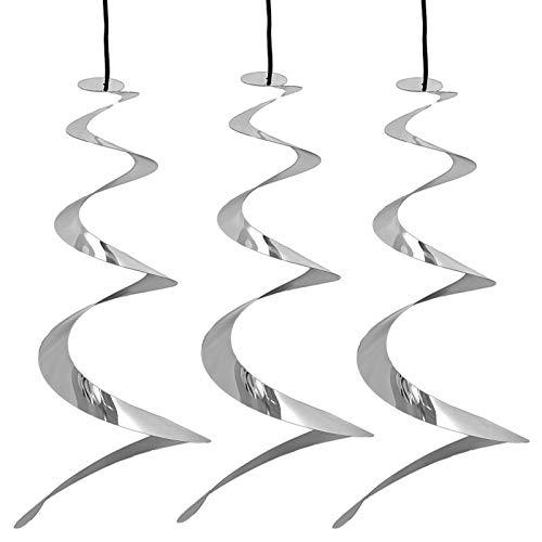HAC24 3er Set Windspirale Vogelabwehr Reflektierend Vogelschreck Spirale Taubenabwehr Windspiel Balkon Vogelschutz Taubenschreck