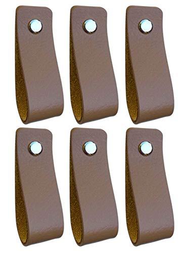 Tiradores de Cuero   Gris Pardo / 6 piezas   16,5 x 2,5 cm   Piel de Granos   3 tornillos de color - tiradores para Accesorio de Mobilario, armario, cajón, puerta