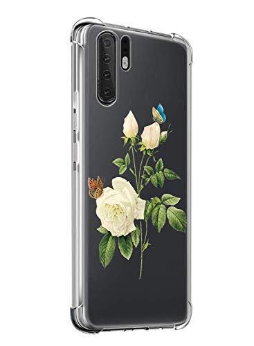 Suhctup Coque Compatible avec Huawei Honor 9i/Honor 9N,Étui Houssee de Transparent Motif Mignon [Antichoc Coussin d'air] Crystal Clear Souple Silicone TPU Bumper Protection de Cover Case,Rose Blanche