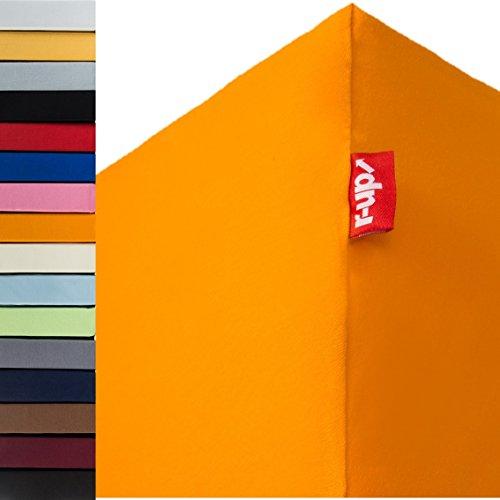 r-up Passt Spannbettlaken 180x200-200x220 bis 35cm Höhe viele Farben 100% Baumwolle 130g/m² Oeko-Tex stressfrei auch für Boxspringbetten (orange)