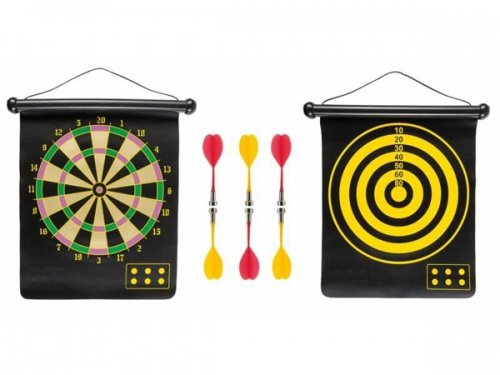 Idena 40462 - Dartspiel mit 2 Dartscheiben und 6 magnetischen Pfeilen, 2 seitig bespielbar, für drinnen und draußen