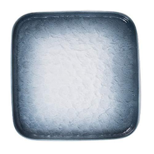 ZSHXX 2 unids de Porcelana Postre Placa de Ensalada Placa de Piedra única Textura de Textura Cena Almuerzo Pasta Pasta Sirva Placa (Color : Blue)