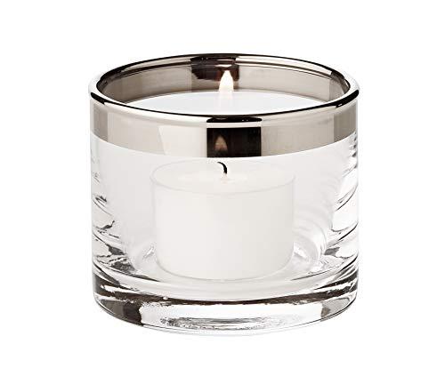 EDZARD Windlicht Molly, mundgeblasenes Kristallglas mit Platinrand, Teelichter Glas für Maxi-Teelicht, Höhe 6 cm, Durchmesser 7 cm