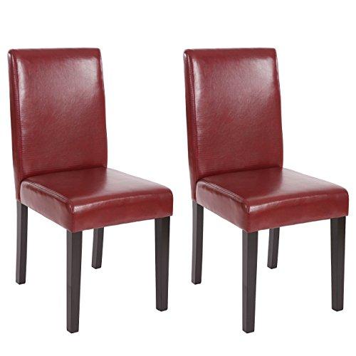 Mendler 2X Esszimmerstuhl Stuhl Küchenstuhl Littau ~ Kunstleder, rot-braun, dunkle Beine