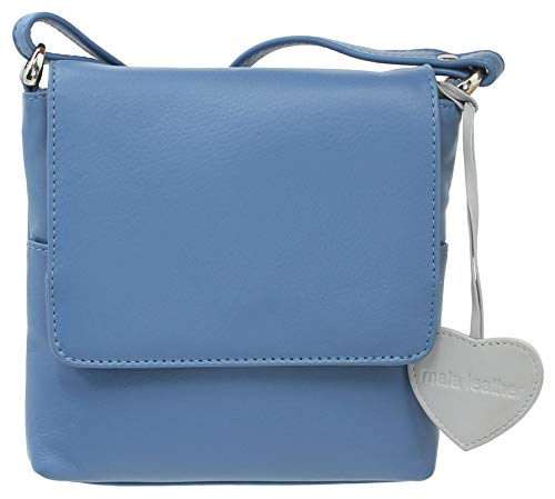 Mala Leather ANISHKA Collection Compact Leather Shoulder/Cross Body Bag 772_75 Sky-Blue
