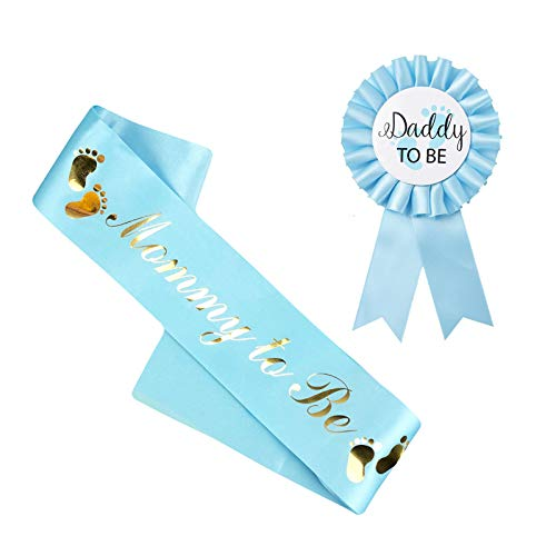 Joocyee Mommy To Be Sash Daddy To Be Badge Kit Baby Shower Decoración Revelación de género, Azul Dos Filas de Huellas Etiqueta cinturón, Azul
