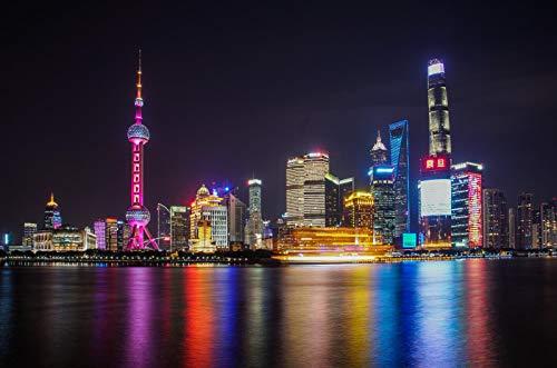 LYWUSUZE Rompecabezas 1000 Piezas Adultos Madera Puzzle Shanghai De Noche Niños Juguetes Educativos para Moderna para El Hogar Decoración