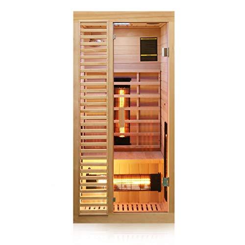 Dewello Infrarotkabine HAMLIN 90x90cm für 1 Person aus Hemlock Holz mit Vollspektrumstrahler