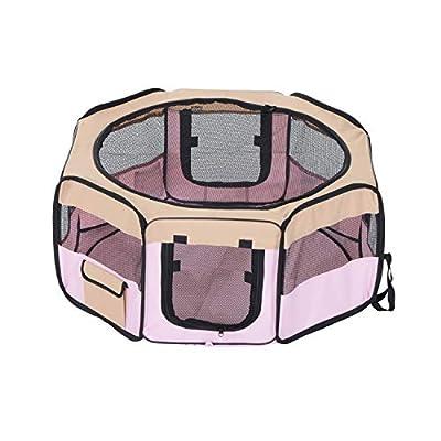 PawHut Fabric Pet Dog Cat Puppy Playpen Rabbit Guinea Pig Play Pen in Pink Small L37 x H37cm x D90cm by MH STAR UK LTD